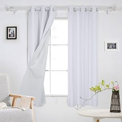 Deconovo Luxury Faux Dupioni Silk Thermal Insulated Top Grommet Blackout Curtains With Coating B ...