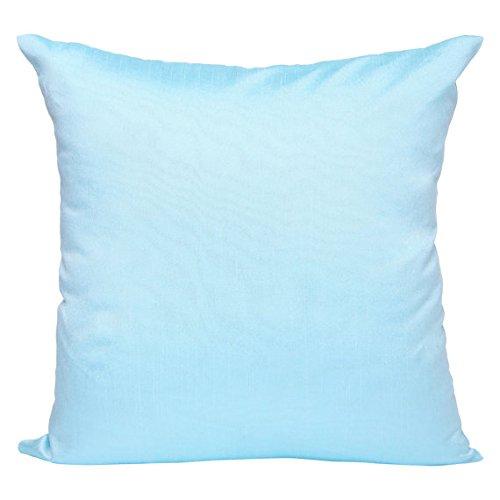 Set of 2 Aqua Blue Art Silk Pillow Covers, Plain Silk Cushion Cover, Solid Color Aqua Blue Throw ...