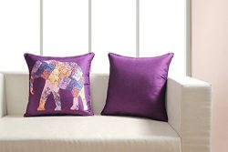 Digitally Printed Vibrant Color,Ethnic Theme Cushion Cover 18 x18 Inch Set of 2,Faux Silk