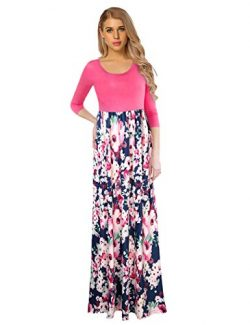 GloryStar Women's Floral Print Long Sleeve Loose Plain Maxi Dresses Casual Long Dresses Wi ...