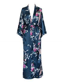 Old Shanghai Women's Kimono Long Robe – Peacock & Blossoms – Lapis Blue (o ...