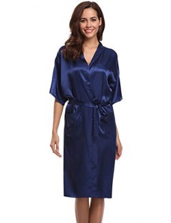 Aibrou Women's Kimono Robe Dressing Gown Long Classic Satin Wedding Nightwear (XL, Dark Blue)