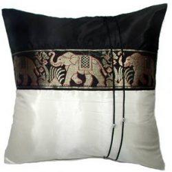 Artiwa® Large Thai Elephants Throw Decorative Silk Pillow Cushion Cover Cream & Black 20 ...
