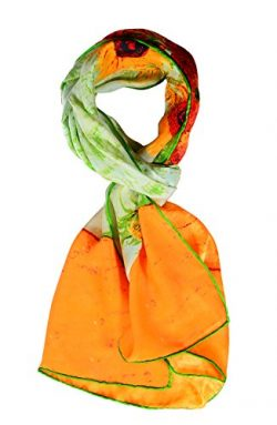 Salutto Women 100% Silk Scarves Van Gogh Sunflower Painted Scarf