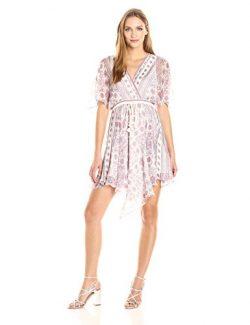 Ella moss Women's wayfare Printed Silk Dress, Natural, M