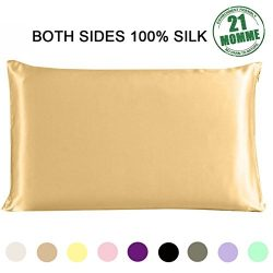 Silk Pillowcase Standard Size for Hair and Skin Both Sides 21 Momme 600 Thread Count Hypoallerge ...