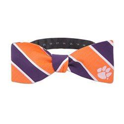 NCAA Clemson Tigers Mens Woven Silk Repp Stripe Collegiate Logo Bow-Tie 1, Orange and Purple, On ...