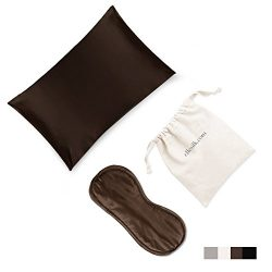 ELLESILK Silk Beauty Set, 100% Mulberry Silk Pillowcase and Silk Eye Mask, Espresso