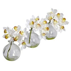 Nearly Natural 4797 Cymbidium with Vase Silk Flower Arrangement, White, Set of 3