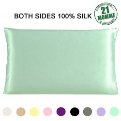 Slip Silk Pillowcase for Hair 21 Momme 600 Thread Count with Zipper Both Sides Mulberry Silk Pil ...