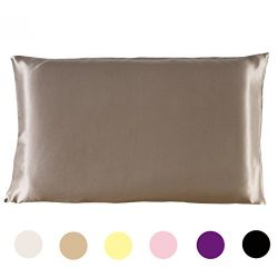 Mulberry Silk Pillowcase Standard Size Zippered Silk Pillow Case for Hair and Skin, Taupe