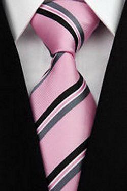 jacob alex #43384 Pink Black Stripe 100% New Silk Classic Elegant Woven Man's Tie Necktie