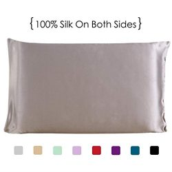 Silk Pillowcase for Hair and Skin, 100% Pure Natural Silk Pillow Cases Covers Protector with Hid ...