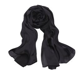 Unilove Solid Scarfs Stoles for Women Silk Shawls and Wraps for Evening Dresses (Black)