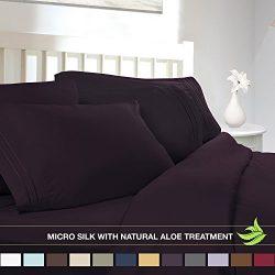 Luxury Bed Sheet Set – Soft MICRO SILK Sheets – Full Size, Purple Eggplant – w ...
