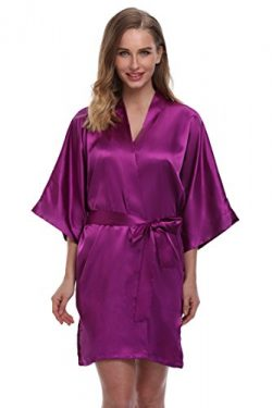 ExpressBuyNow Women's Kimono Robe Short ,pure color-Purple2 ,Medium