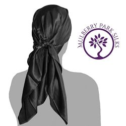 Pure Silk Hair Black Head Scarf, 100% Pure Mulberry Silk, OEKO-TEX Certified, Provides Chemother ...