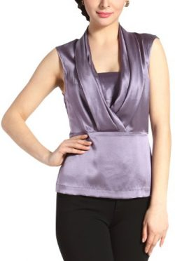 Sandals Cay Women's 'Lori' Drape Neck Silk Top – Lavender 4