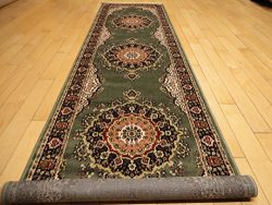 Silk Traditional Area Rug Sage Green Rug Long Narrow Runners Rug Silk Persian Hallway Runner Rug ...