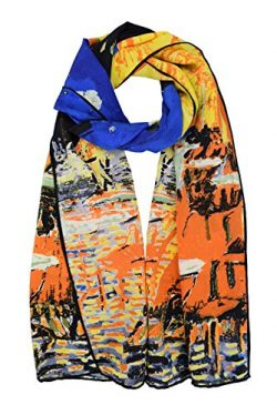 Luxurious 100% Charmeuse Silk Long Scarf Hand Rolled Edge Cafe Terrace At Night