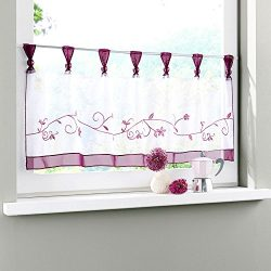 Uphome 1pcs Cute Embroidered Floral Window Tier Curtain – Kitchen Tab Top Semi Sheer Curta ...