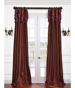 Half Price Drapes PTCH-87-96-RU Ruched Faux Silk Taffeta Curtain, Paprika