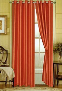 "A Pair of 2 Faux Silk Grommet Curtain Panels (Orange, 58″x""84)"