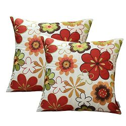 Embroidery Throw Cushion Covers Faux Silk Pillow Covers Home Decorative Sofa Pillow Case 2 PCS 1 ...