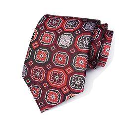 New Classic Pattern Pink Blue JACQUARD WOVEN 100% Silk Men's Tie Necktie t-40-05