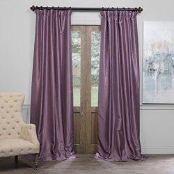 Half Price Drapes PDCH-KBS11BO-96 Blackout Vintage Textured Faux Dupioni Curtain, Smokey Plum, 5 ...