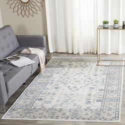 Safavieh Maharaja Collection MHJ441A Hand Knotted Ivory and Blue Bamboo Silk Area Rug, 5′  ...