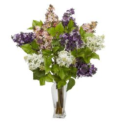 Nearly Natural 1256 Lilac Silk Flower Arrangement, Assorted