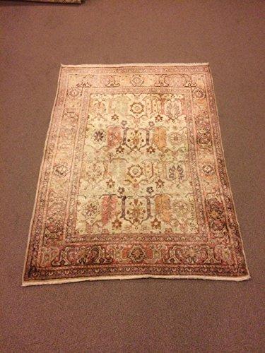 4×5.6 Feet Soft Faded Beige Rug Silk On Cotton Rug Pale Rug Shiny Rug Shiny Carpet Handmade ...