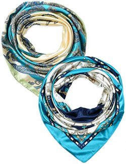 2 Pack 35 Inches Silk Feeling Women's Square Scarf Hair Scarves by corciova
