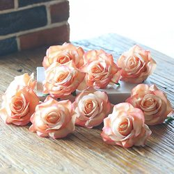 PARTY JOY Artificial Silk Rose Flower Heads Fabric Floral DIY For Wedding Home Flower Wall Decor ...