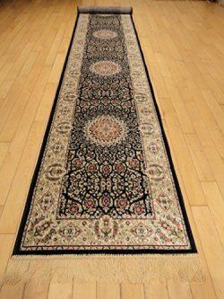 Silk Persian Navy Area Rugs Narrow 2×8 Navy Hallway Runners Stair Carpet Luxury Qum Traditi ...