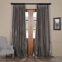 Half Price Drapes Ptch-BO112-96-DW Blackout Extra Wide Faux Silk Taffeta Curtain, 100 X 96, Poli ...