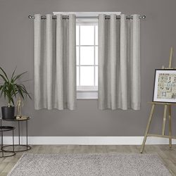 Exclusive Home Curtains Loha Linen Grommet Top Window Curtain Panel Pair, Natural, 52×63