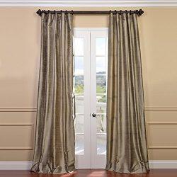Half Price Drapes DIS-ID7806-96 Cashmere Textured Dupioni Silk Curtain, Brown