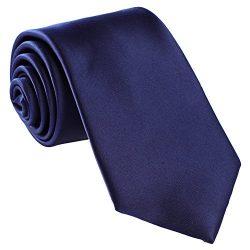 Fortunatever Classical Men's Handmade Tie,Solid Necktie With Gift Box (Denim)