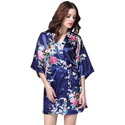 Kimono Robe for Women Bridesmaid Stain Silk Long and Short Style Wedding Party (L, Navy)