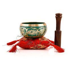 CraftVatika Tibetan Singing Bowl Set Meditating 8 Lucky Symbols With Mallet & Silk Cushion ~ ...