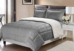 Swift Home Collection Ultra-Plush Reversible Micromink and Sherpa 3-Piece Down Alternative Comfo ...