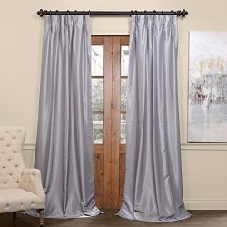 Half Price Drapes PDCH-KBS9BO-96-FP Pleated Blackout Vintage Textured Faux Dupioni Silk Curtain, ...