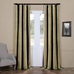 Half Price Drapes PTSCH-32012-96 Faux Silk Taffeta Stripe Curtain, Sake