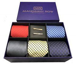 5 Luxury Men's Neckties, 2 Modern Tie Bars, Designer Gift Box, The Must Have Mens Necktie  ...