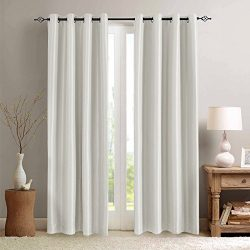 White Blackout Curtains for Bedroom Anti-bacteria Dupioni Faux Silk Room Darkening Curtain Set 9 ...