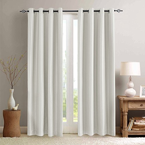 white blackout curtains for bedroom anti bacteria dupioni faux silk room darkening curtain set. Black Bedroom Furniture Sets. Home Design Ideas
