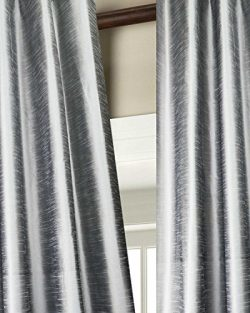 Solid toned faux silk dupion curtain/panel/drape (SILVER, 52″W X 108″L