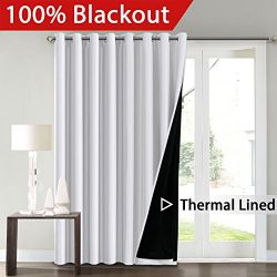 FlamingoP Full Blackout White Wide Patio Door Curtains Faux Silk Satin with Black Liner Thermal  ...